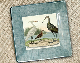 Birds of the sea shore hanging plates - decoupage plate - nautical decor - teal aqua sand