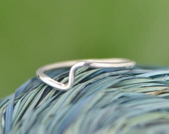 Wave Ring - Stacker Ring - Thumb Ring - Argentium Sterling Silver - Silver Ring - Handmade Ring