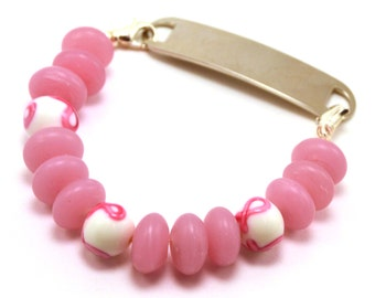 Breast Cancer Awareness Stretchy Medical Bracelet Attachment