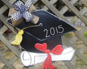 Graduation Cap Door Hanger, Graduating 2017, Diploma, Kindergarten, Senior, College Grad