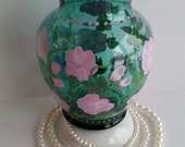 Green vase  pink rose buds Hand Painted