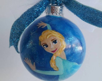 Elsa, Frozen Movie, hand painted ornament, Christmas ornament, Let it Go, Customized girl ornament