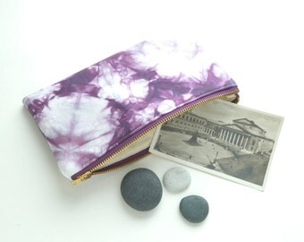Shibori Pouch - Purple Clutch - Plum