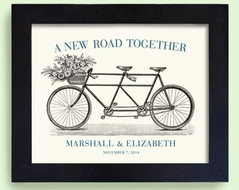 Unique Engagement Gift Wedding 11x14 Decor Idea Gift for Couples Bicycle for Two Bride and Groom Bridal Shower Romantic Keepsake