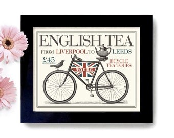English Tea Art Print Gift for Tea Lover English Teapot London England Great Britain Bicycle Art British Art Tea Scones English art