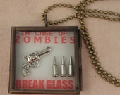 Zombie Hunter -In Case Of Zombies - BREAK GLASS - Handgun & Bullets Necklace For The Walking Dead Zombie Apocalypse - Zombie Jewelry
