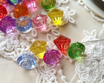 12 mm Diamond Shape Acrylic Beads of Assorted Colors (.mca)
