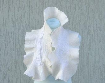 Natural white nuno felted scarf Silk felt scarf