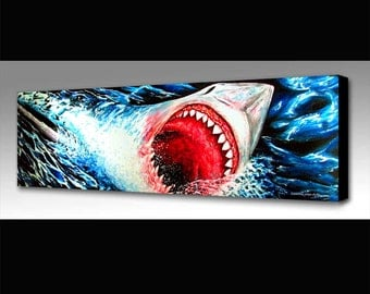 Great White Shark Painting | Sea Life Art | Great White Shark Print | Shark Wall Art Decor | Jaws Fan Art | Shark Art | Surf Decor | Waves
