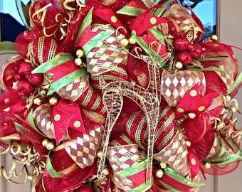 Christmas Deco Mesh Wreath ~Christmas Wreath ~Merry Christmas Wreath