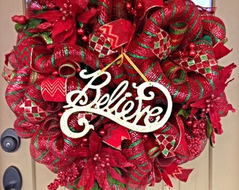 Christmas Deco Mesh Wreath ~Christmas Wreath ~Merry Christmas Wreath