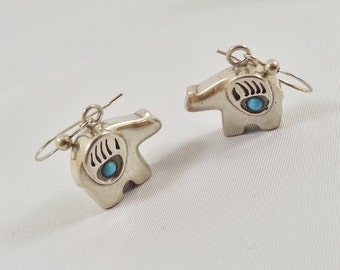 Native American Bear Earrings Turquoise Bear Claw Sterling Silver Vintage Tracy B Designs Estate Jewelry Services Custom Design Repair