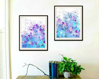 Abstract paintings, Wall art set, Original Modern Paintings in blue and purple art on paper 11x14 in each, #0116 Contemporary Art