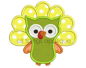 Turkey Owl Applique Design - Thanksgiving Applique - INSTANT DOWNLOAD