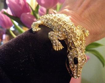 Salamandore Rhinestone Hinged Clamper Bracelet