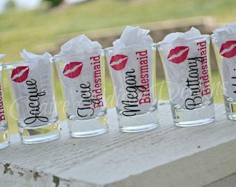 Bridal Party Shot Glasses, Bachelorette Shot Glasses, Bridesmaid Shot Glasses, Wedding Party Gifts