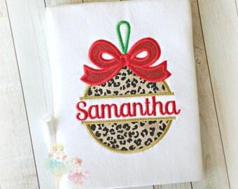 Girls Christmas shirt - 1st Christmas shirt - leopard Christmas ornament shirt - personalized Christmas shirt for girls - Holiday shirt