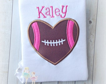 Football heart shirt - girls football shirt - pink football shirt - girly football themed shirt - personalized girls football shirt