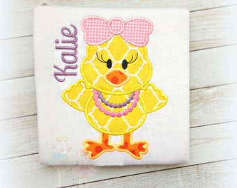 Little chick Easter shirt - Girls Easter shirt with cute chick - Easter chick with necklace and bow - 1st Easter shirt - yellow chick shirt