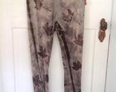 Merino Wool Leggings Eco Dye Eco Print maple leaf purple black