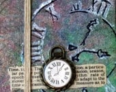 Clock Mini Collage on Canvas with Easel - Perfect for a gift - Purple and Green with Three-dimensional Clock and Hemp