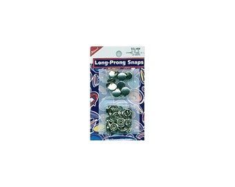Silver SnapSetter compatible, Size 16 snaps, Capped Long-Prong Snaps, 10/Pkg, Silver Caps,