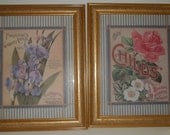2 Pc Wall art, 2 Piece Home Decor, Vintage 80s Circa Pictures, Floral Wall Art, Flowers, 10X12 size Prints in Frames, Gold Tone Frames 2 pc
