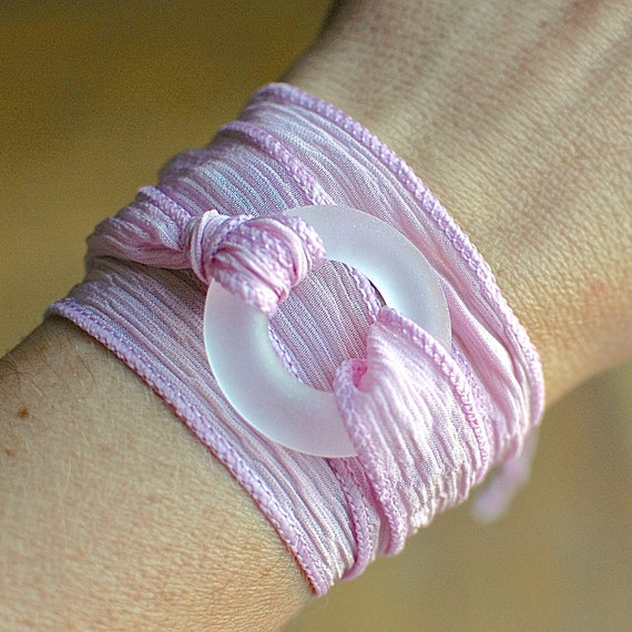 Bourbon Whiskey Pink Ribbon Wrap Bracelet // Upcycled Yoga Jewelry