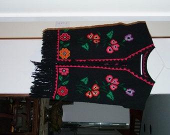 Vintage Hand Woven floral vest ala 1980s Central American