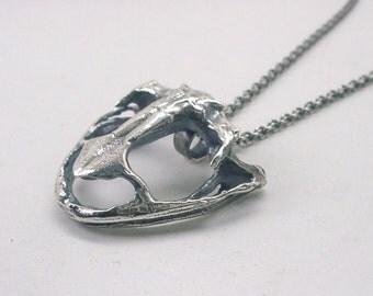 Frog Skull Necklace, Sterling Silver