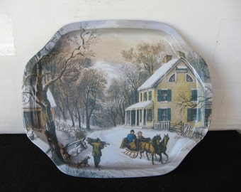 Tip Tray with winter snow scene