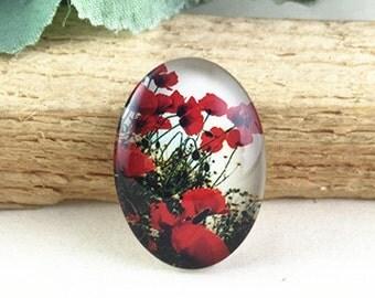 4pcs 18x25mm Oval Handmade Photo Glass Cabochon - Rose Flower