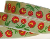 Red Cherries Jacquard Trim 3/8 inch wide - 2 Yards