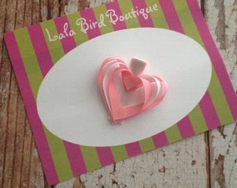 Ribbon Heart Hairclip - Toddler, Child, Baby - Pink and White - READY TO SHIP