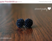 BLACK FRIDAY CYBER Monday On Sale - Black 15 mm Round Cabochon Resin Stud Earrings