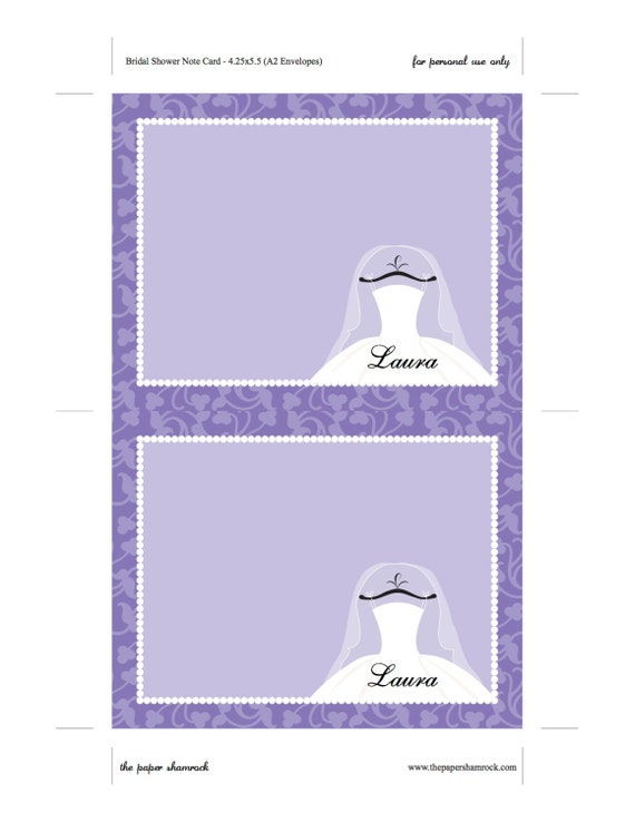 purple bridal thank you cards template printable thank you cards for bridal shower. Black Bedroom Furniture Sets. Home Design Ideas