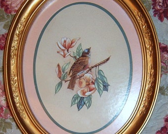 40% Off, Vintage, Syroco, Bird Picture, Oval Frame, Gold Frame, Bird,  Oval, Shabby Chic