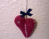 The Heart Has Its Reasons Purple Needle Felted Broken Heart Stitched Art Ornament ooak Softie Valentine Gift Soft Sculpture