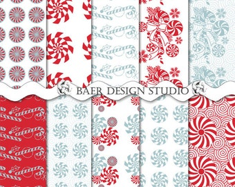 Peppermint Candy Cane Digital Paper, Peppermint Digital Paper, Christmas 2017 Digital Paper, Seamless Web Background, #72216