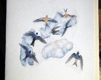 Blank Card with Swallows Aerialists Colored Pencil Art