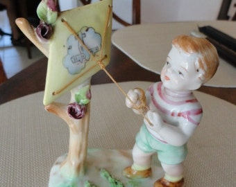 A271) Vintage Hand Painted Ucagco China Boy with Kite porcelain
