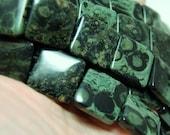 "Kambaba Jasper 20mm square double drilled hole square beads full 8"" strand"