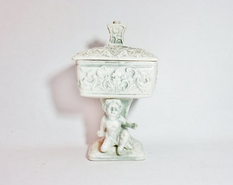 Covered Dish Cherubs Cherub Vintage Footed Candy Nut Pedestal Bowl