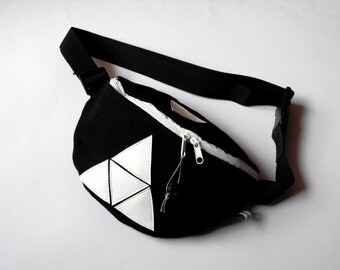 fanny pack/hip bag - black with white leatherette triangles medium size)