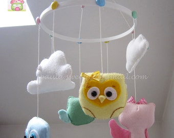 Baby Owls  baby crib felt mobile