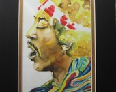 Jimi Hendrix Portrait by Karen Pratt Original Watercolor painting Giclee Print 5X7