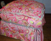 French Provincial Ottoman custom Feather top upholstered down filled pillow top