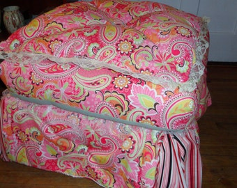 Pet Bed Big dog bed French Provincial Ottoman custom Feather top upholstered down filled pillow top