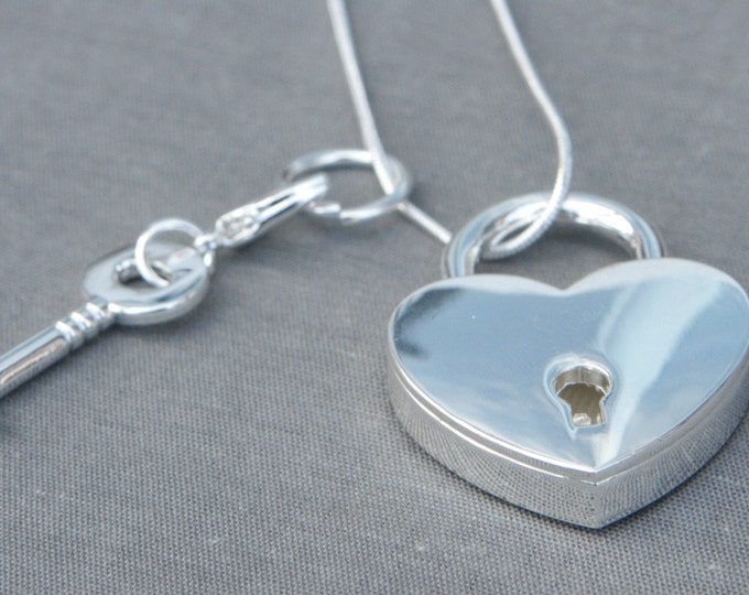 Silver Plated Padlock Necklace - Working Padlock Necklace - Gift For Her