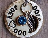 1.25 inch - Dog Tag, Custom Pet Tag, Brass Tag with Leaf and Rhinestone Charm